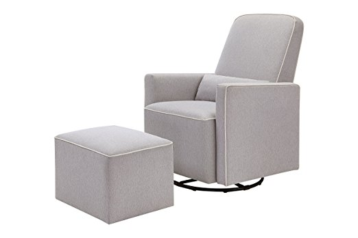 DaVinci Olive Upholstered Swivel Glider with Ottoman Set